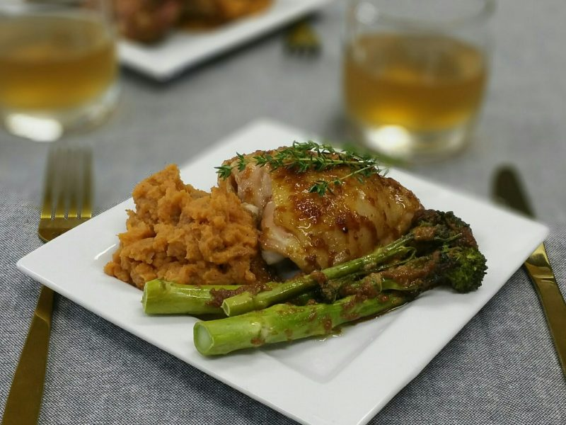Honey Soy Chicken with Miso Broccolini & Sweet Potato Mash