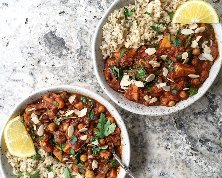 Moroccan Spiced Sweet Potato, Chickpea & Lentil Stew