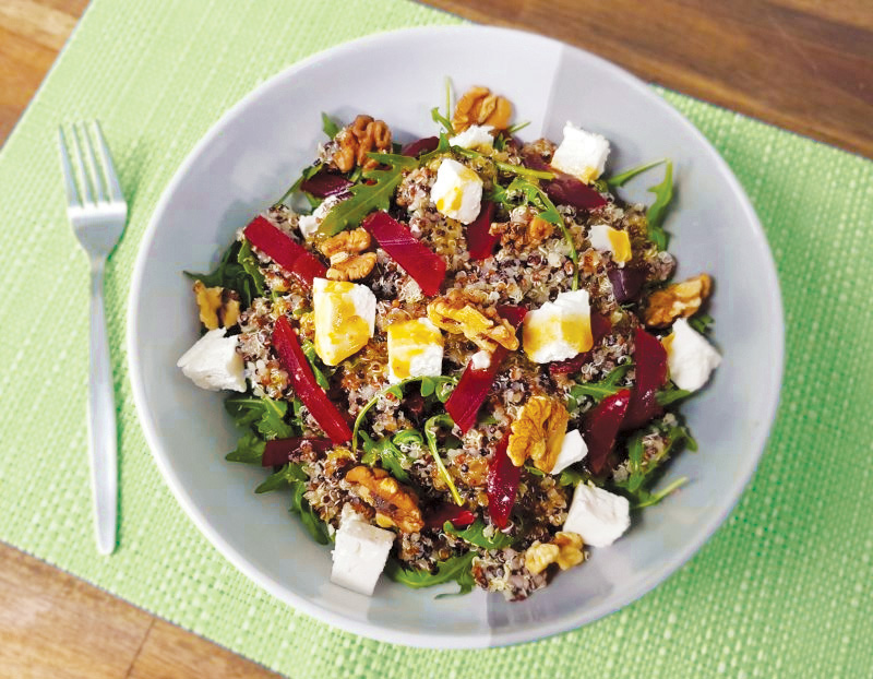 Quinoa, beetroot, goat cheese and rocket salad