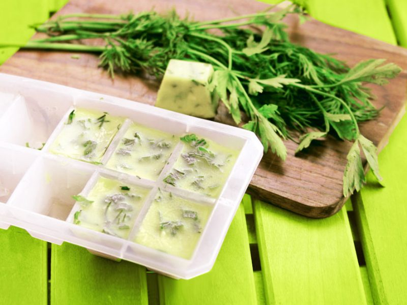 Preserve fresh frozen herbs in organic olive oil