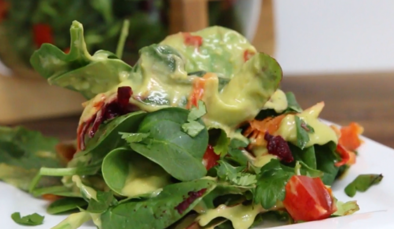 Spring Salad with Zesty Avocado Dressing