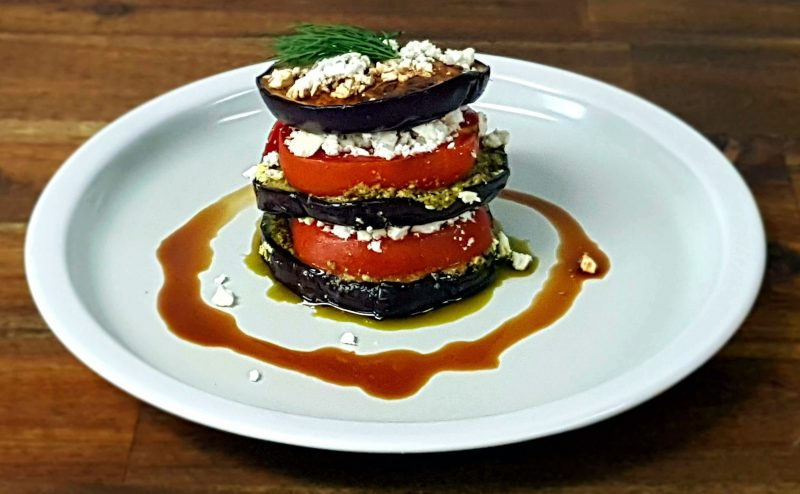 Eggplant and Tomato Stack with Pesto and Feta